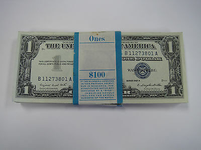1957 CONSECUTIVE 100 PACK $1 US SILVER CERTIFICATE w/60+  *STAR* NOTES UNC RARE