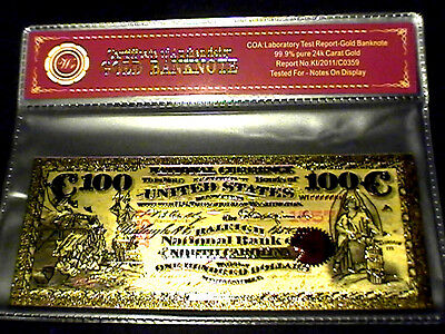 99.9% 24K Gold 1875 $100 Bill Us Banknote In Protective Sleeve W Coa