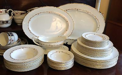 42 items Royal Worcester England  Gold Chantilly  dinner service