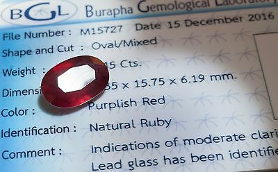10.45ct NATURAL RUBY BGL CERTIFIED Rubis mozambique SI Transparent
