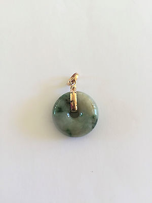 Natural Round Jade Pendant -  18K Solid Yellow Gold