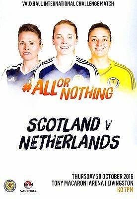 Season 2016-17 Scotland v The Netherlands (Women's International) Programme