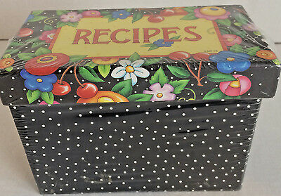 Mary Engelbreit Cherries Flowers Recipe Box and cards New Sealed 2009 8 Dividers
