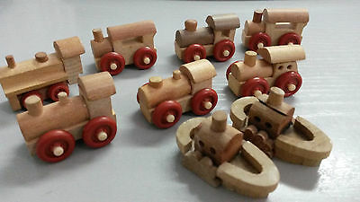 Wooden Trains & Ships Lot - Kinder Surprice Toys Miniatures