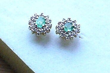 Emerald And White Topaz Stud Earrings In 14K Gold Overlay Sterling Silver