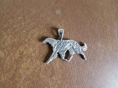 Sterling Silver Running Borzoi Russian Wolfhound Pendant