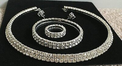 NEW - Women's  4 Piece Crystal Silver Necklace Set