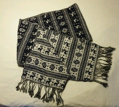 Women's Reversible Scarf Blue and White with Reindeer and Snowflakes Design