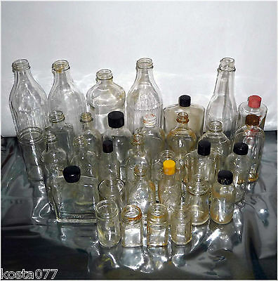 Lot, 30+ Vintage Glass Bottles, Various Sizes, Various Shapes