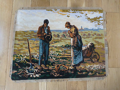 """French Completed Wool Tapestry L'Angelus' d'apres Millet J. E.  24 """" x 18.5 """""""