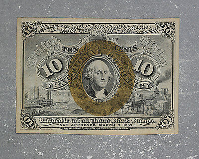 Nice Uncirculated 2nd Issue 10c Note - FR1244 - Hinged at some point