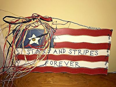 "Country Wooden Flag to Hang ""Stars and Stripes Forever"""