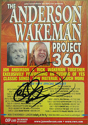 Rick Wakeman & Jon Anderson ( Yes) Authentic Hand Signed Autographed Tour Flyer