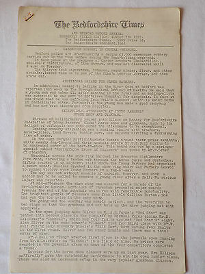 Rare Newspaper Strike Issue The Bedfordshire Times Broadsheet 7th August 1959