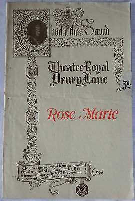 Rose Marie, Theatre Royal, London Programme 1925 by Oscar Hammerstein