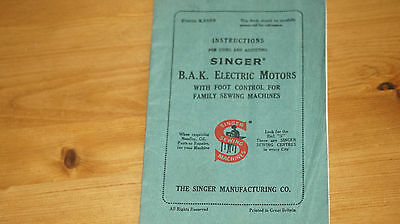 Singer B.A.K. Electric Motors Sewing Machine Instruction Handbook
