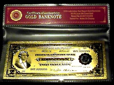 99.9% 24K Gold 1918 $2 Bill Us Banknote In Protective Sleeve W Coa