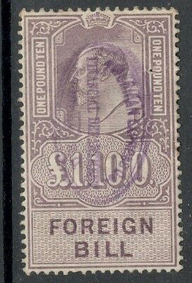 King Edward VII - £1 10s - Purple - Foreign Bill - Lightly used - Clean Cancel