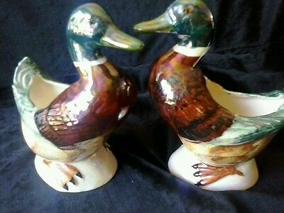 A Pair Of Very Decorative Vintage Luster Ware Hand Painted Ducks