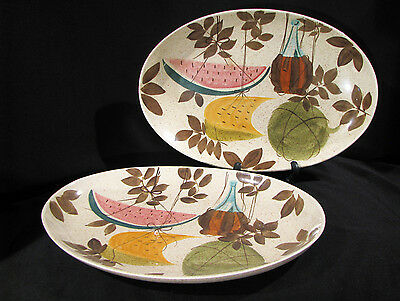 """Set of 2 RED WING TAMPICO WATERMELON 13"""" SERVING PLATTERS - MID CENTURY"""