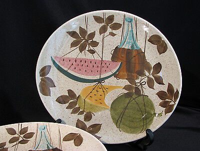 Set of 6 RED WING TAMPICO WATERMELON DINNER PLATES - MID CENTURY - #1