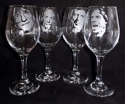"New Etched ""ROLLING STONES WINE GLASSES"" - Choose any Band Member"