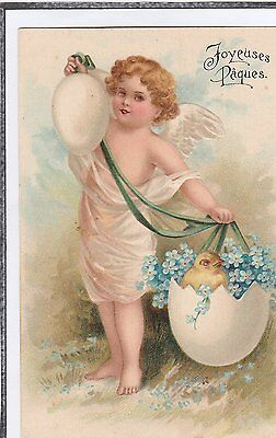 Joyeuses Paques Greetings Postcard Girl With Chick And Egg Embossed