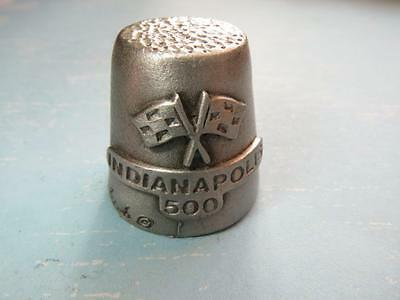 Collectible INDIANAPOLIS 500  Pewter Thimble Vintage  Racecar & Checkered Flags!