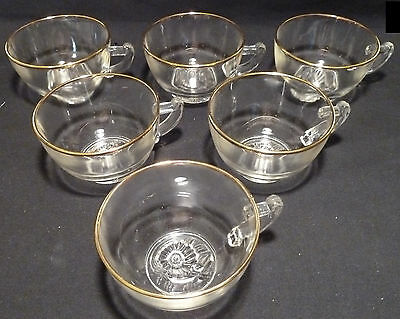 Set of 6 Vintage Jeannette CAMELLIA Glass Coffee or Punch Cups