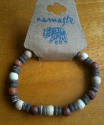 Lucky Namaste Bracelet Hand Made From Wood In Thailand Fair Trade New