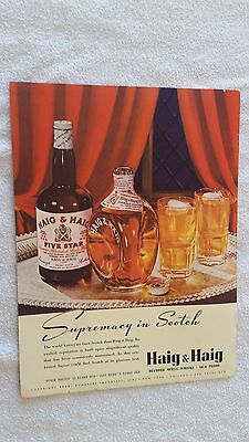 1938 Haig & Haig Pinch Bottle and Five Star Blended Scots Whisky Ad - Full Color