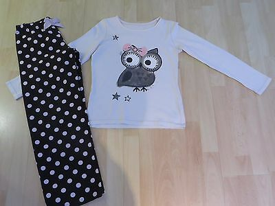 Girls Owl Pyjamas Age 11-12 Years M&S Black/Cream/Pink/Sequins VGC