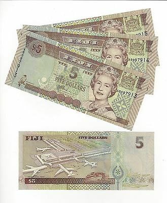 Fiji Islands  5 Dollars,   Obsolete  Issue  3 Consecutive Notes Nice Unc