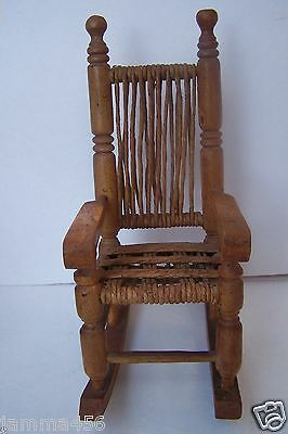 Antique Doll Wood Cord Rocking Chair