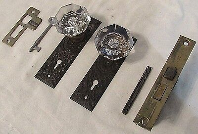 1 Pair Antique Glass Door Knobs Skeleton Key Backplate (MANY AVAILABLE!) Option3