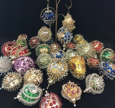 VTG Gorgeous Mixed 15 Heavily Bead Sequin Christmas Ornaments Handmade Unused!