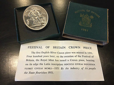 "George VI 1951 Festival Of Britain Crown Coin,""High Grade"" Boxed With COA"