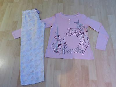 Girls Bambi Pyjamas Age 11-12 Years M&S Pink/White/Multi VGC
