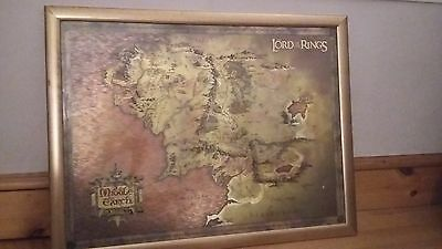 Framed Lord Of The Rings Poster Map