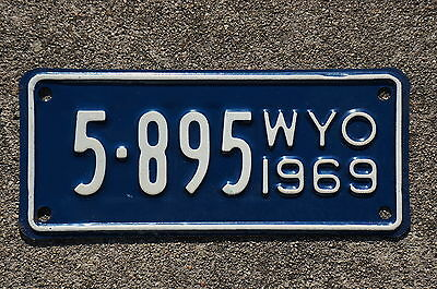 1969 Wyoming Motorcycle License Plate - High Quality