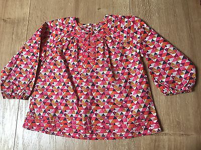 blouse dpam 18 mois rose a triangles brodée