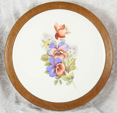 Wooden & china trivet stand 7 inches across floral decoartion kitchen