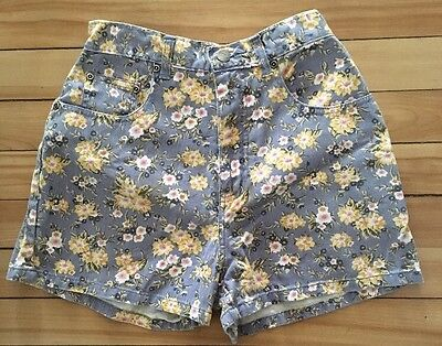 Vintage 90s Stefano International High Waist Floral Print Denim Shorts sz 8