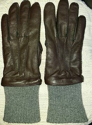 Gents Fleece Lined Quality Brown Leather Hammond & Co. Gloves - Size S/M vgc