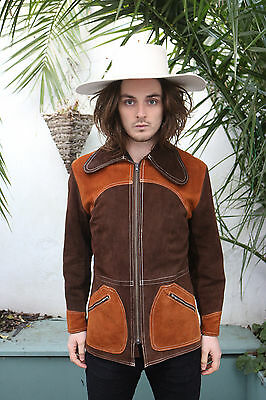 Mens vintage brown and orange 60s western mexican suede zip jacket size medium