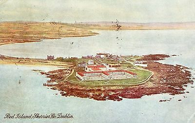 RED ISLAND SKERRIES CO. DUBLIN IRELAND AIR VIEW IRISH POSTCARD POSTED in 1949