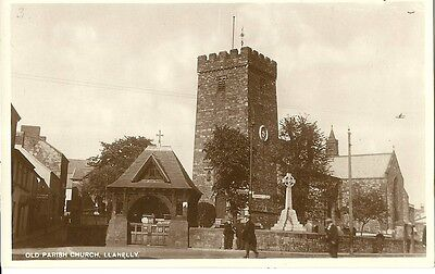 Llanelly Old Parish Church Drapery Shop In Side Street C1930 Real Photo Postcard