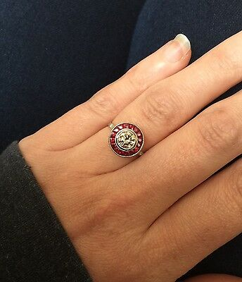 Art Deco Style Champagne Diamond & Ruby Target Halo Ring Size N