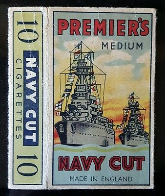 Old Premiers Medium Navy Cut hull  cigarette packet empty
