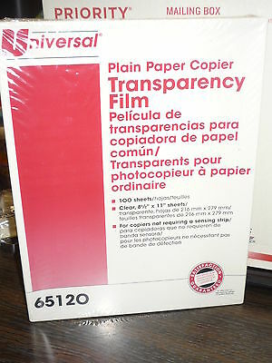"""100 SHEET Universal Brand 65120 Clear Transparency Film,  8 1/2""""  x 11"""""""